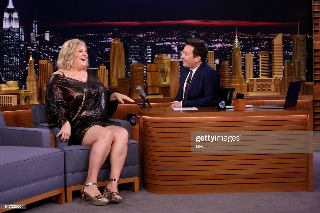 Comedian Bridget Everett during an interview with host Jimmy Fallon on April 16, 2018 --