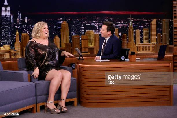 Comedian Bridget Everett during an interview with host Jimmy Fallon on April 16 2018