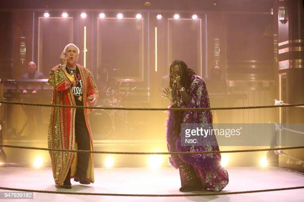 """Episode 0852 -- Pictured: Musical Guest Offset & Metro Boomin perform """"Ric Flair Drip"""" with Ric Flair on April 17, 2018 --"""