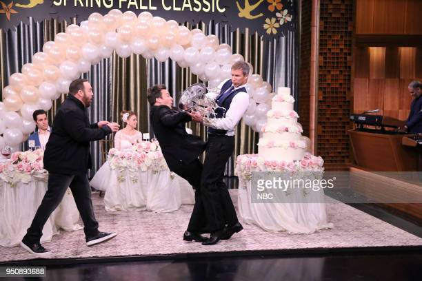 Comedian/Actor Kevin James with host Jimmy Fallon during Spring Fall Classic on April 24 2018
