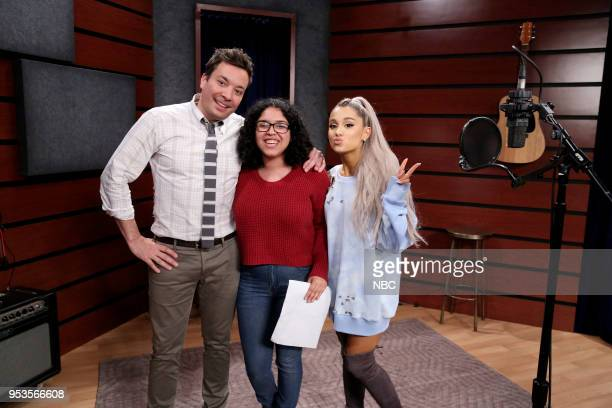 Host Jimmy Fallon with Singer Ariana Grande during a Fan Surprise on May 1 2018
