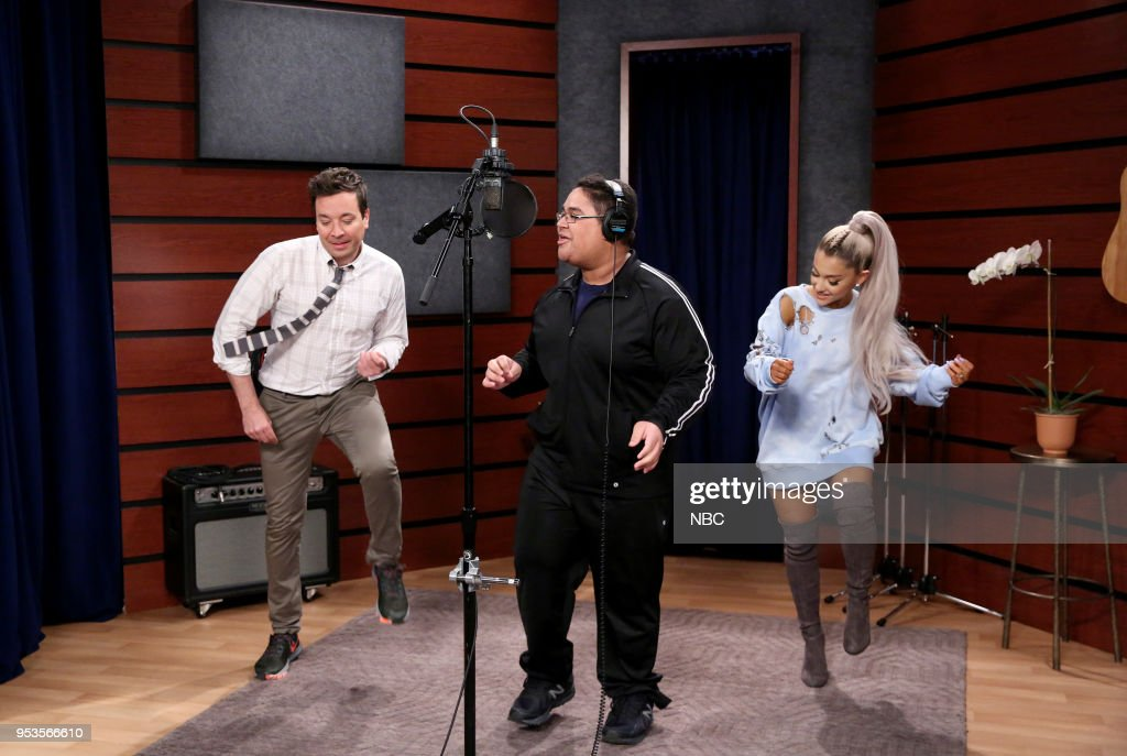 Host Jimmy Fallon with Singer Ariana Grande during a 'Fan Surprise' on May 1, 2018 --
