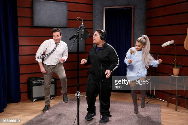 Host Jimmy Fallon with Singer Ariana Grande during a 'Fan Surprise' on May 1 2018