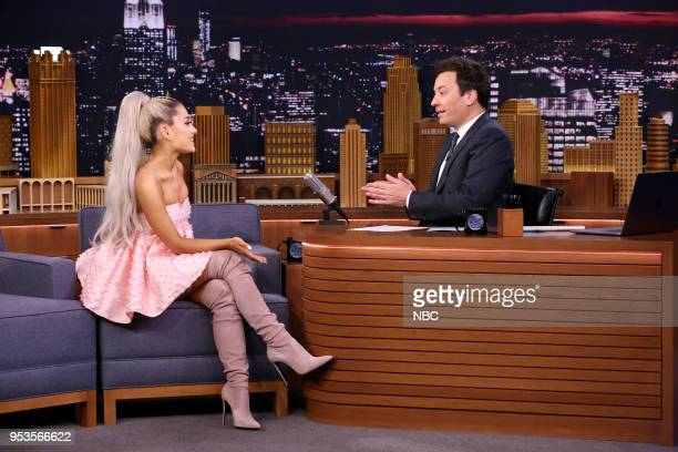 Singer Ariana Grande during an interview with host Jimmy Fallon on May 1 2018