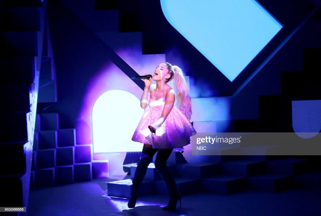 Singer Ariana Grande performs 'No Tears Left To Cry' on May 1, 2018 --