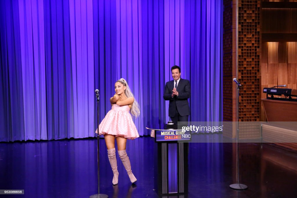 Singer Ariana Grande with host Jimmy Fallon during 'Musical Genre Challenge' on May 1, 2018 --