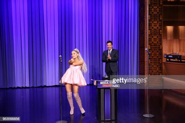Singer Ariana Grande with host Jimmy Fallon during 'Musical Genre Challenge' on May 1 2018