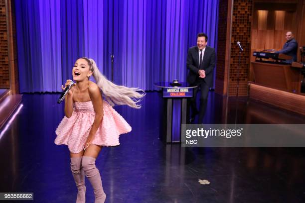 Singer Ariana Grande with host Jimmy Fallon during Musical Genre Challenge on May 1 2018