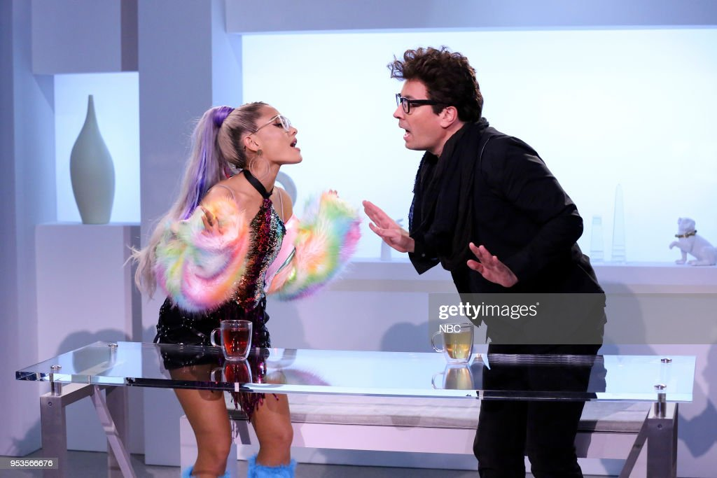 Singer Ariana Grande with host Jimmy Fallon during 'NBD or No Big Deal' on May 1, 2018 --