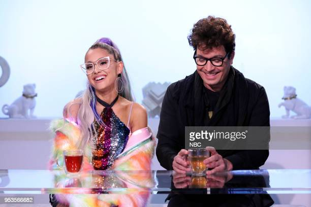 """Episode 0862 -- Pictured: Singer Ariana Grande with host Jimmy Fallon during """"NBD or No Big Deal"""" on May 1, 2018 --"""