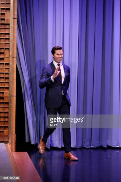 Actor Andrew Rannells arrives for an interview on May 7 2018