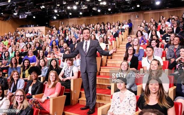 Host Jimmy Fallon with and audience of New York City school teachers on 'Teacher Appreciation Day' on May 8 2018