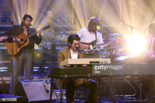 Musical Guests Nick O'Malley Alex Turner Matt Helders Jamie Cook of Arctic Monkey perform 'Four Out of Five' on May 10 2018