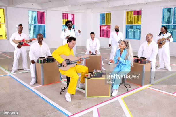 """Episode 0871 -- Pictured: Host Jimmy Fallon with Ariana Grande; The Roots perform during """"Labo Instruments"""" on May 14, 2018 --"""