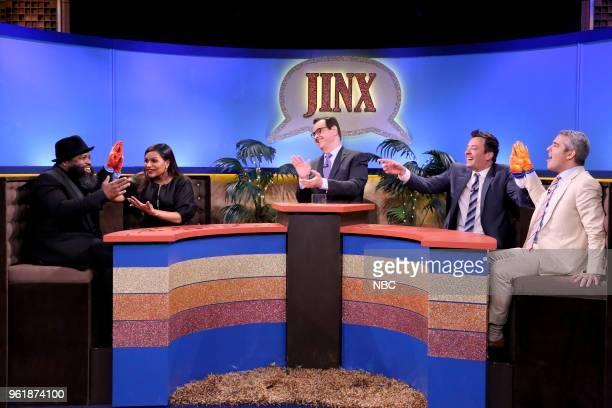 Tariq 'Black Thought' Trotter Mindy Kaling Steve Higgins Jimmy Fallon Andy Cohen during 'Jinx' on May 23 2018