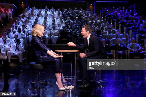 Actress Cate Blanchett plays 'Egg Russian Roulette' with host Jimmy Fallon on May 24 2018
