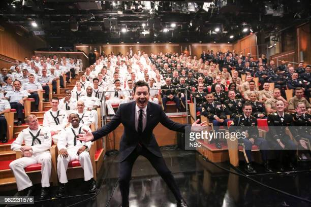 Host Jimmy Fallon with an all service men and women audience during 'Fleet Week' on May 24 2018