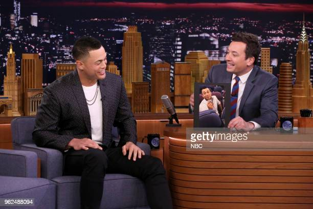 Athlete Giancarlo Stanton during an interview with host Jimmy Fallon on May 25 2018