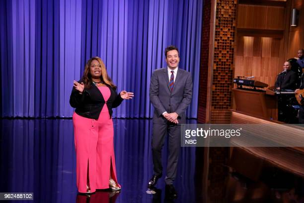 Yamaneika Saunders with host Jimmy Fallon during the opening monologue on May 25 2018