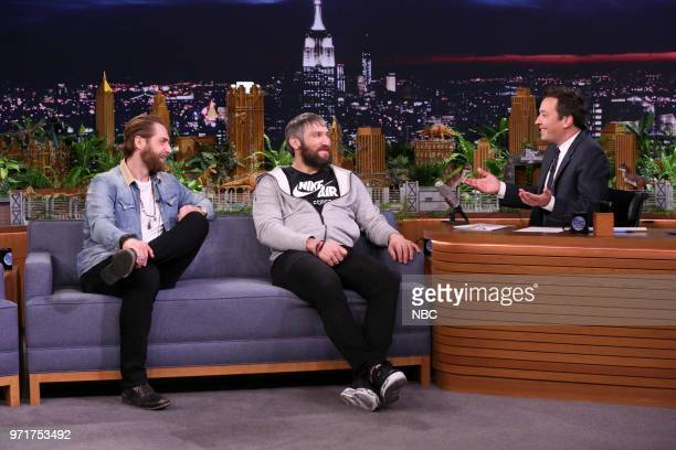 Hockey Players Braden Holtby and Alexander Ovechkin with host Jimmy Fallon during an interview on June 11 2018