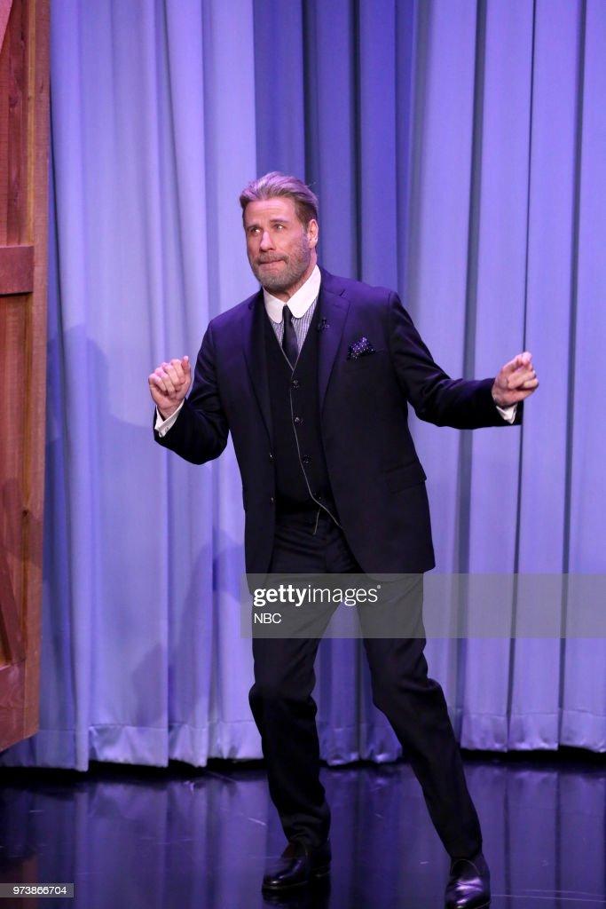 Actor John Travolta arrives for an interview on June 13, 2018 --