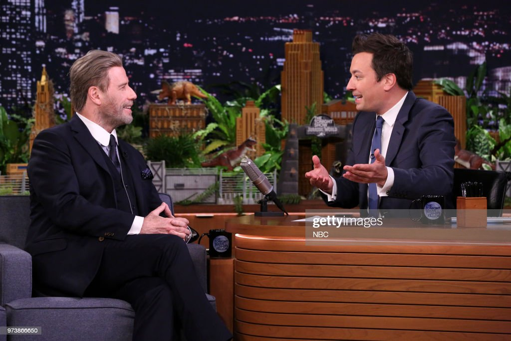 Actor John Travolta during an interview with host Jimmy Fallon on June 13, 2018 --