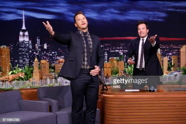 Episode 0884 -- Pictured: Actor Chris Pratt arrives for an interview with host Jimmy Fallon on June 14, 2018 --