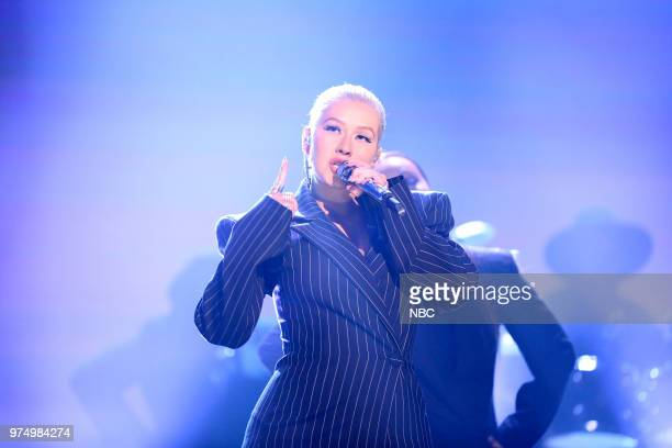 Musical Guest Christina Aguilera performs Fall In Line on June 14 2018