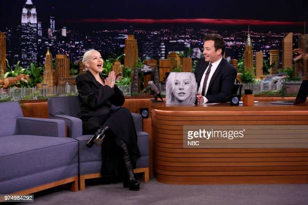 Singer Christina Aguilera during an interview with host Jimmy Fallon on June 14 2018