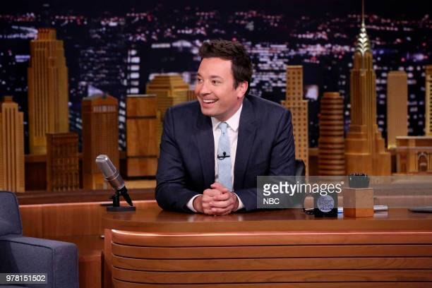 Host Jimmy Fallon at his desk on June 18 2018