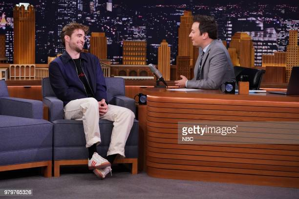 Actor Robert Pattinson during an interview with host Jimmy Fallon on June 20 2018