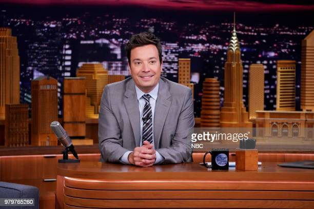 Host Jimmy Fallon at his desk on June 20 2018