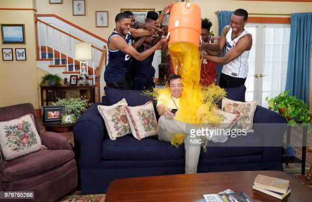 Mikal Bridges Jaren Jackson DeAndre Ayton Trae Young Collin Sexton Wendell Carter Jr during an 'NBC Draft Sitcom Opening 'Play by Play'' with host...