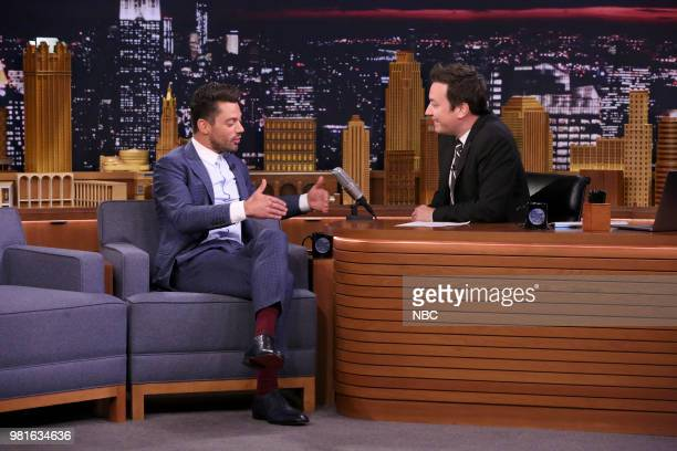 Actor Dominic Cooper during an interview with host Jimmy Fallon on June 22 2018