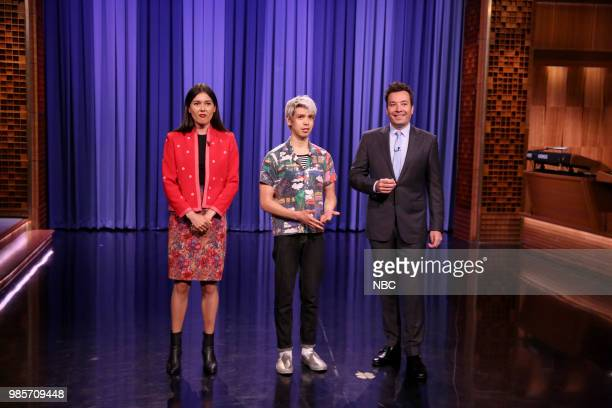 Tonight Show Correspondents Patti Harrison and Julio Torres with host Jimmy Fallon during the opening monologue on June 27 2018