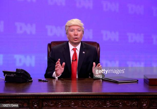 Host Jimmy Fallon as President Donald Trump during 'Trump News Network' on July 19 2018