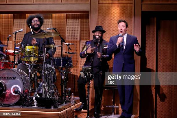 Ahmir Questlove Thompson Tariq Blackthought Trotter with host Jimmy Fallon during Hashtags #Myweirdfear on July 26 2018