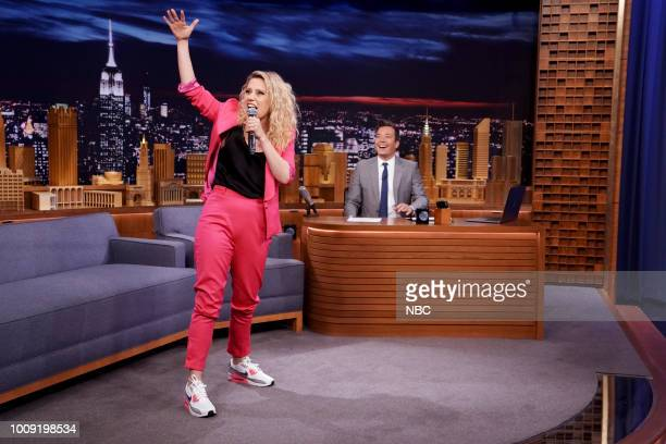 Comedian/Actress Kate McKinnon performs a Hungarian Rap during an interview with host Jimmy Fallon on August 1 2018