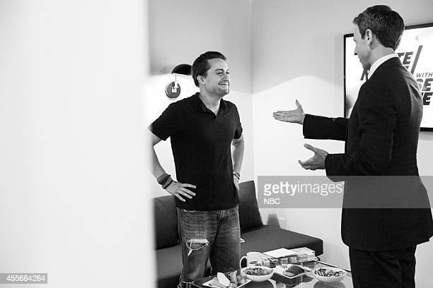 MEYERS Episode 091 Pictured Actor Kieran Culkin talks with host Seth Meyers backstage on September 4 2014