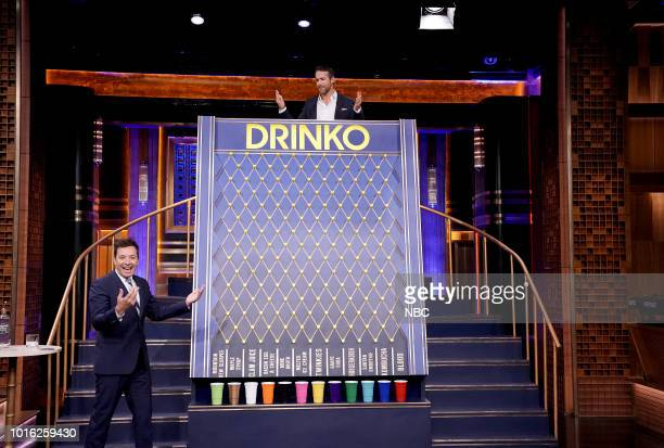 Actor Ryan Reynolds plays Drinko with host Jimmy Fallon on August 13 2018