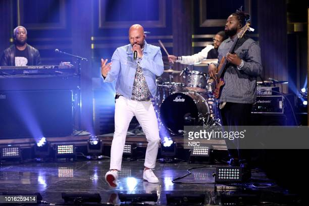 """Episode 0912 -- Pictured: Musical Guest August Greene performs """"No Apologies"""" on August 13, 2018 --"""