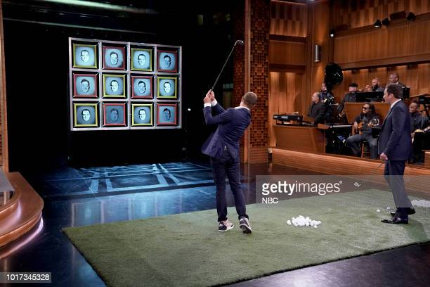 """Episode 0914 -- Pictured: Golfer Justin Thomas plays """"Facebreakers"""" with host Jimmy Fallon on August 15, 2018 --"""