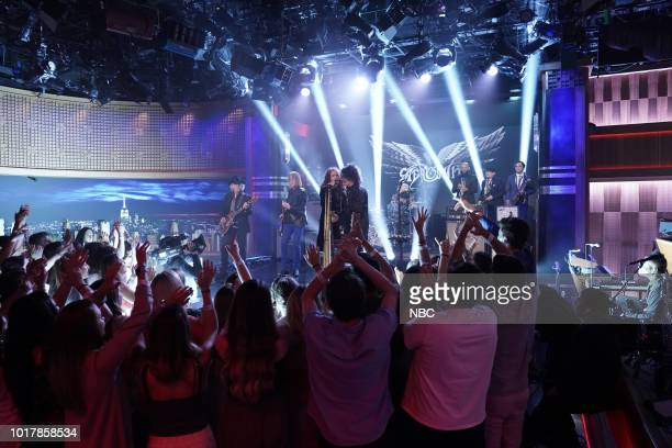 Musical Guest Aerosmith performs 'Mama Kin' on August 16 2018
