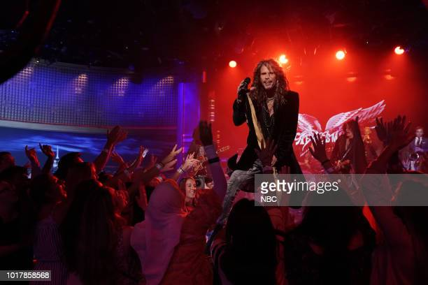"""Episode 0915 -- Pictured: Musical Guest Aerosmith performs """"Mama Kin"""" on August 16, 2018 --"""