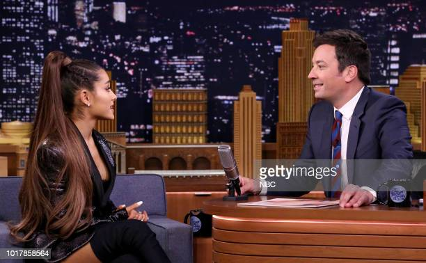 Singer Ariana Grande during an interview with host Jimmy Fallon on August 16 2018