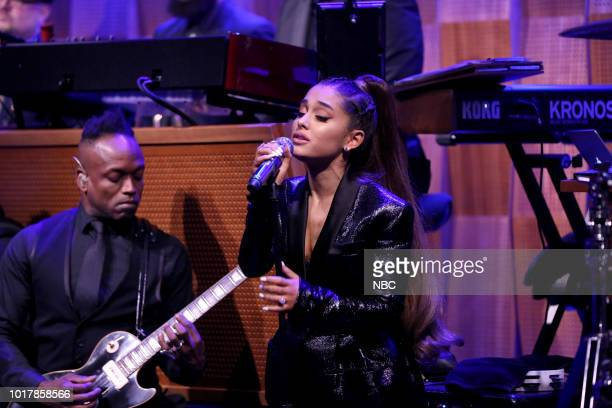 Singer Ariana Grande performs 'Natural Woman' with The Roots on August 16 2018