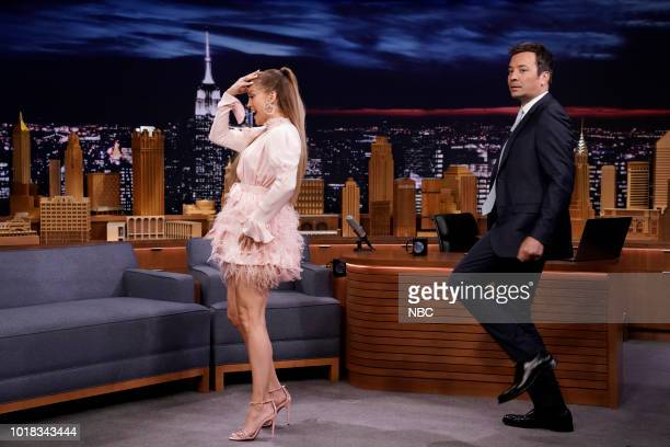 "Episode 0916 -- Pictured: Singer/Producer Jennifer Lopez during ""Dance Break"" with host Jimmy Fallon on August 17, 2018 --"