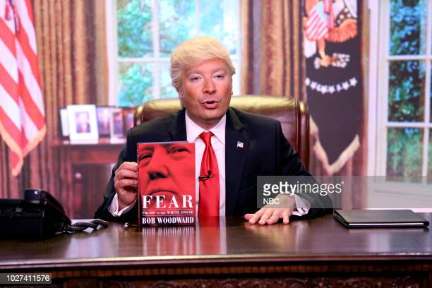 Episode 0918 -- Pictured: Jimmy Fallon as President Donald Trump during the opening monologue on September 5, 2018 --