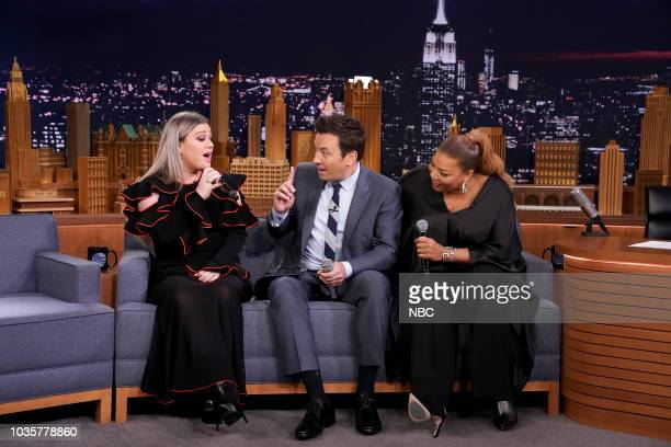 Kelly Clarkson Jimmy Fallon and Queen Latifah sing with the iPad Loopy App on September 18 2018