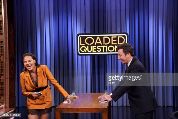 Chrissy Teigen Host Jimmy Fallon play 'Loaded Questions' on September 21 2018
